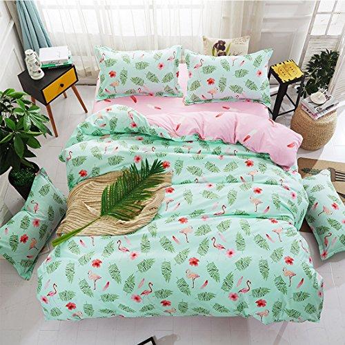 GWELL 4 teilig Bettwäsche Flamingo Microfaser Bettbezug + Bettlaken + 2x Kissenbezug Muster-B 220×240 cm