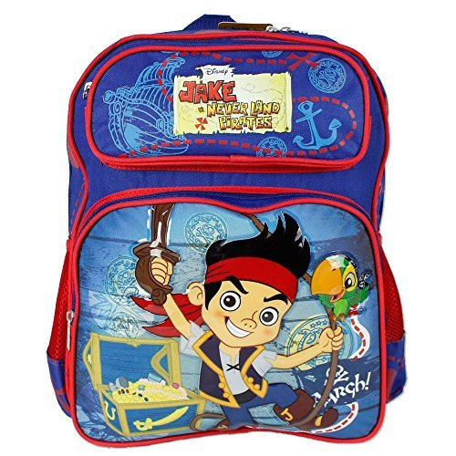 (Medium Rucksack – Jake Neverland Piraten Blau/Rot Schule Tasche New 650896)