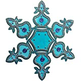 Buy Kalash Design Acrylic Blue Rangoli Kolam Decorated With Silver Coloured Stones - 7 Pieces Set