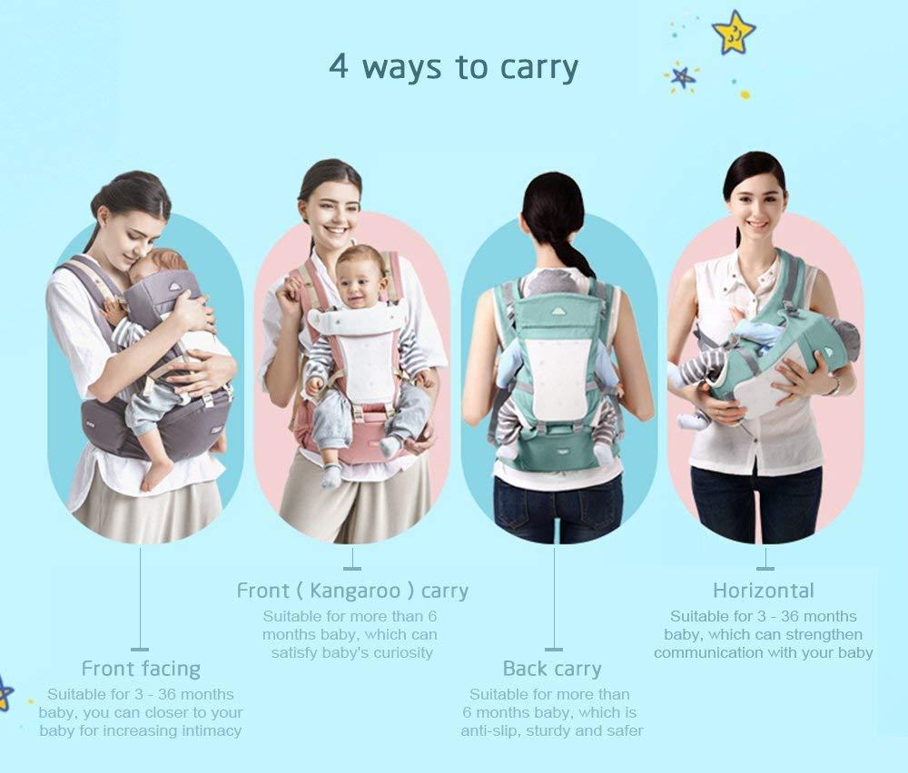 61LerJ6VaSL - GBlife Mochila Portabebé Ergonómico Multifuncional 4 en 1 Fular Porta Bebé con Múltiples Posiciones Suave Ajustable para Niños