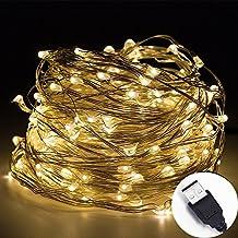 intetech® 100LED Micro alambre de cobre LED cadena luces impermeables para interiores o exteriores Starry (Bianca Leggiadramente Solare Luce)