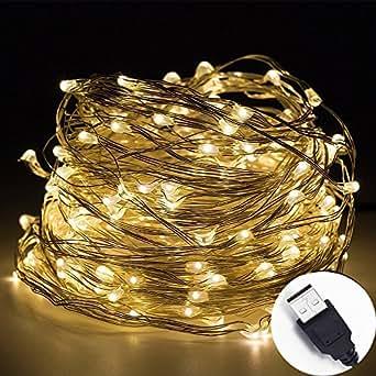 InteTech 10m/33FT 100 LED luci della stringa legare d'argento, Luci di stringa impermeabili del cavo di rame di micro Luce natalizia Decorazione natalizia uso interno (blanco cálido_USB)
