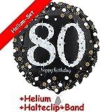 Carpeta Folienballon * Zahl 80 Happy Birthday + Helium FÜLLUNG + Halte Clip + Band * Zum 80. Geburtstag // Folien Ballon Party Helium Deko Ballongas Motto 80 achtzig Jahre Glückwunsch