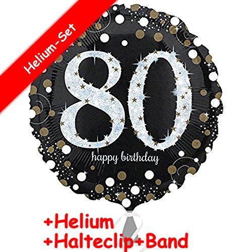 Folienballon * ZAHL 80 HAPPY BIRTHDAY + HELIUM FÜLLUNG + HALTE CLIP + BAND * zum 80. Geburtstag // Folien Ballon Party Helium Deko Ballongas Motto 80 achtzig Jahre Glückwunsch (80. Geburtstag Einladungen Erwachsene)