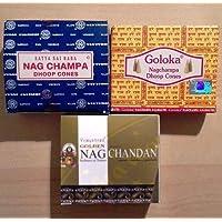 Nag Champa Räucherkegel Set - Nag Champa, Goloka, Nag Chandan - 3 Packungen preisvergleich bei billige-tabletten.eu