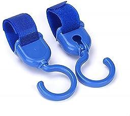 Waymore Pram Stroller Pushchair Hanger Swivel Strap Plastic Multi Hooks (Set of 2) (Blue)
