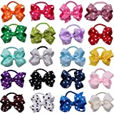 20Pcs Girls kids Dot Polka Grosgrain Ribbon Boutique Bows Hair Pony Tail Band Elastic Ponytail Holders Hair Bobbles For Child Teens Toddlers