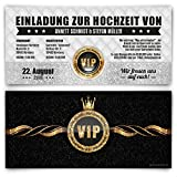 Einladungskarten zur Hochzeit (30 Stück) VIP Ticket Gold edel Krone Einladung UV-Lack Karte