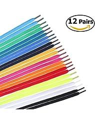 WINOMO 12 paires chaussure plate lacets remplacement pour baskets bottes patins Sports couleurs aléatoires