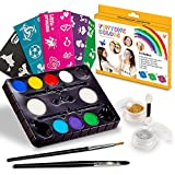 Maquillage Enfant Kit de peinture de visage. 40 Pochoirs gratuit inclus.Utilisé pour la peinture de corps, les fêtes, Halloween . Contient une palette de 8 couleurs, paillettes, pinceaux et éponges.