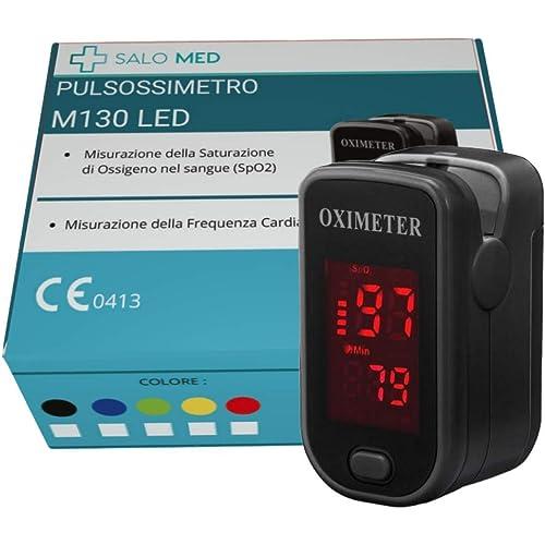 SALO MED M130 - PULSOSSIMETRO OSSIMETRO LED Portatile SpO2, Saturimetro da Dito, Lettore di Impulsi Digitali a Lettura Istantanea, Funzionamento a Pulsante Singolo,