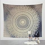 Goldbeing indischer Wandteppich Wandbehang Mandala Tuch Wandtuch Gobelin Tapestry Goa Indien Hippie-/ Boho Stil als Dekotuch /Tagesdecke indisch orientalisch psychedelic (203 x 153cm, Grau Kreis)