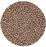 myfelt Lotte Filzkugelteppich, rund, Schurwolle, Bunt, Ø 160 cm