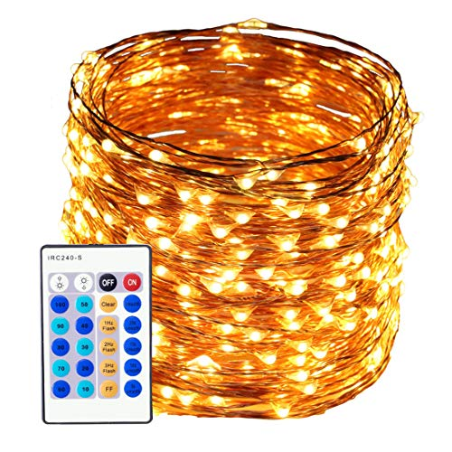 50M Fairy Lights Copper Wire, 165FT 500 LED Christmas Lights with Remote Control Waterproof String Light for Trees, Garden, Holiday, Party, Wedding, Halloween, Outdoor, Indoor Decorations (Warm white)