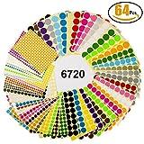 64 Blatt Markierungspunkte Witasm 6720 Klebepunkte Ø 8mm/16mm/25mm/32mm runde Punktaufkleber, 16 verschiedene sortierte Farben Klebrige Aufkleber Punkte