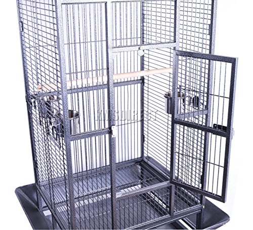 FoxHunter Large Metal Bird Cage Stand For Parrot Macaw Budgie Canary Finch Cockatiel Aviary Lovebird Parakeet With Wheel… 4