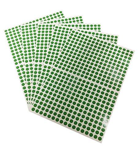Pegatinas de cara sonriente, 10 mm, para profesores, recompensa a los niños, 5 hojas, color verde A4
