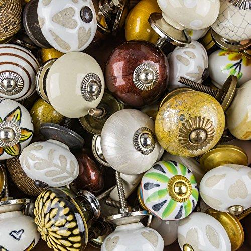9x Perilla Muebles Tiradores Cerámica Vintage Antique Porcelana Shabby Chic Perilla Muebles Rummage oferta como un conjunto de 9 W2 marrón beige natural - Mangos, tiradores, Gabinete, Cajón, Cómoda