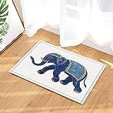 gohebe Ethnic Decor Ethnic Elefant mit asiatischen Watercolor Stil Kunstwerk vor Weiß Hintergrund Bad Teppiche rutschhemmend Fußmatte Boden Eingänge Innen vorne Kinder Matte 39,9x 59,9cm Badezimmer Zubehör