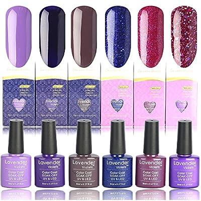 Lavender Violets® UV/Led Gel Polish Base and Top Coat Soak off Gel Nail Polish 100+ Colours for Choosing