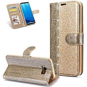 FNBK Hülle Leder Kompatibel mit Samsung Galaxy S8 Handyhülle Glitzer Ledertasche Schutzhülle Wallet Flip Case Tasche Ultra Slim im Bookstyle Magnet Kartenfächer Stand Klapphülle für Galaxy S8,Gold
