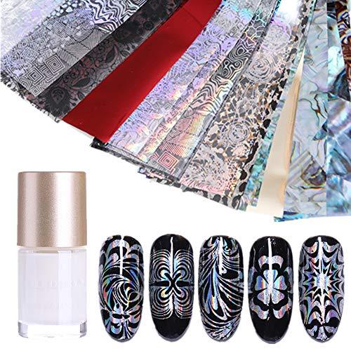 NICOLE DIARY 50Pcs Nagelfolien Holographische Laser Blume Schneeflocke Nail Art Transfer Aufkleber mit 1Pc Nagel Folie Kleber Nail Art Dekoration Set