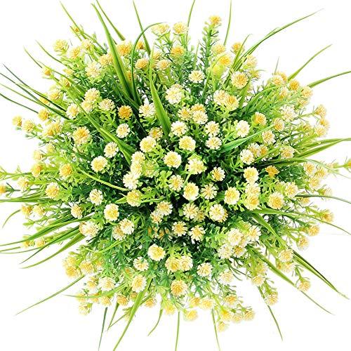 CQURE künstliche Blumen,Unechte Blumen Künstliche Deko Blumen Schleierkraut kunstblumen Braut Hochzeitsblumenstrauß für Haus Garten Party Blumenschmuck 5 Stück. (Gelb)