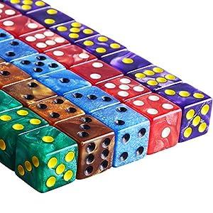 AUSTOR 50 Piezas 6 – Sided Dice Set, 5 x 10 Colores Perla Square Corner Dados con Free Velvet Bolsas para Tenzi, Farkle…