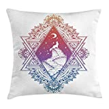 tgyew Crying Wolf Throw Pillow Cushion Cover, Ombre Effect Canine on a Stairwell Howling at Starry Night with Crescent Moon, Decorative Square Accent Pillow Case, 18 X 18 inches, Blue Purple