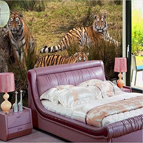 tzerdefinierte Hd Retro Löwe Tiger Elefant 3D Stereo Tier Wandbild Nahaufnahme Tv Hintergrund Wand Wohnzimmer Hotel Tapete V-250X175Cm ()
