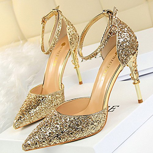 Oasap Women's Sequins Ankle Strap Pointed Toe Stiletto Heels Club Pumps Champagne