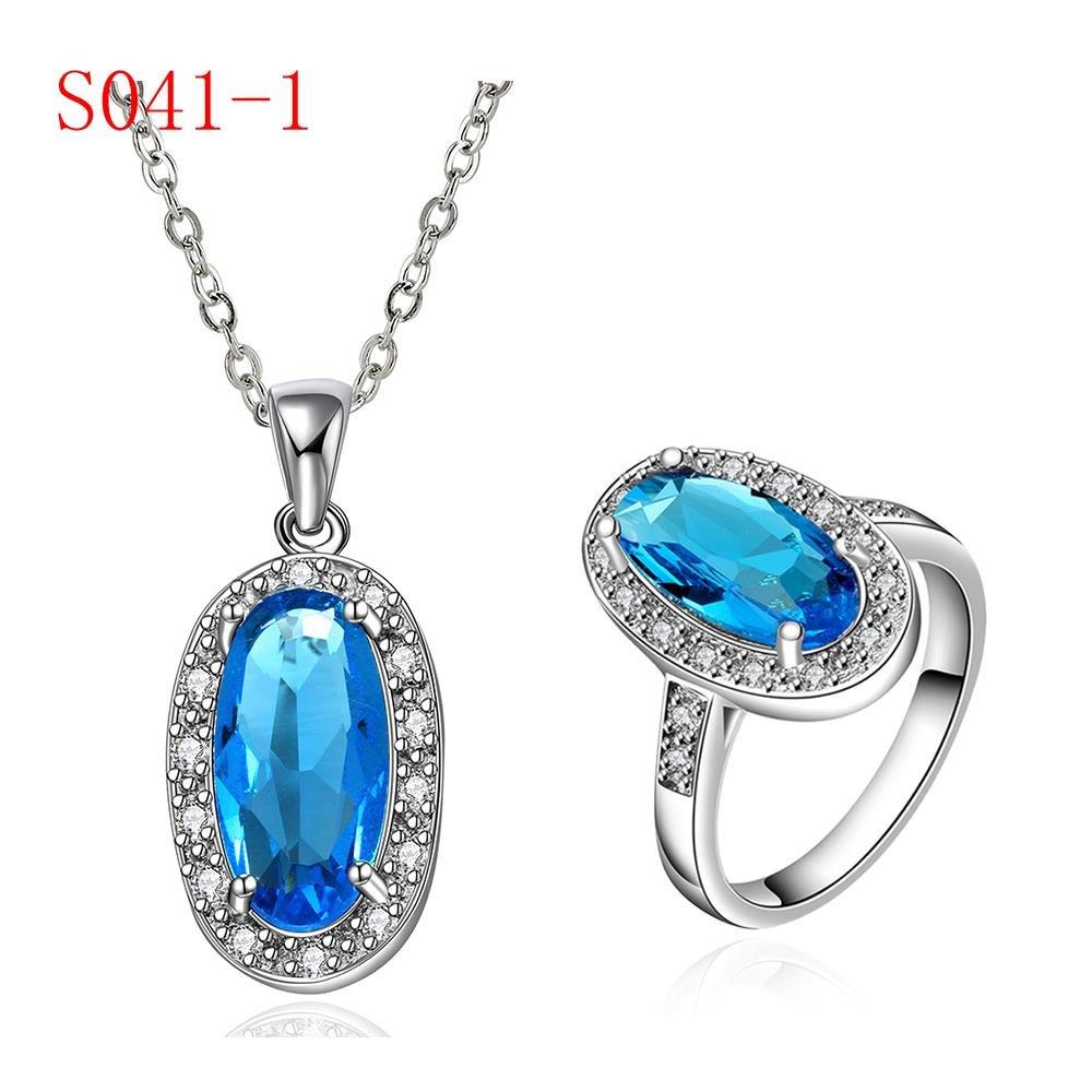 il Dono Di Diamante Gocce L'Insieme Di Lusso Di Zircon Blu Puro , platino