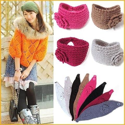 Andonger Fiore Crochet Knit a maglia Headwrap fascia scaldino dell'orecchio dei capelli Muffs fascia invernale (colore trasmesso a caso)