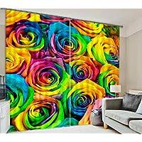 GYMNLJY tenda tessuto 3D stampa resa personale della decorazione tende oscuranti alle finestre di poliestere di scenario tridimensionale di Rose , 3 , wide 3.2x high 2.7 - Nastro Del Legare Roses
