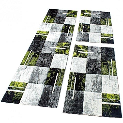 Alfombra Pie De Cama Mármol Diseño Cuadros Gris Negro Verde 3 Unidades , Grösse:2mal 60x110 1mal 80x300