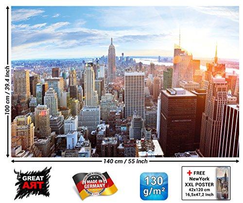 GREAT ART Affiche de New York Skyline - Décoration Murale Coucher de Soleil Manhattan Amérique États-Unis Amerika USA Big Apple NYC | Mur Deco Poster Mural Image by (140 x 100 cm)