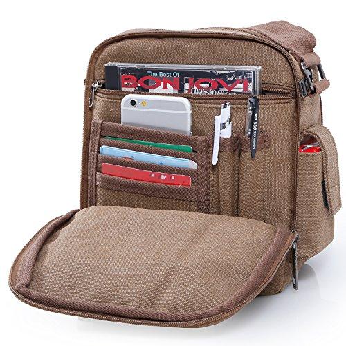 (Han Lucky Star Unisex Vintage Canvas Kleine Umhängetasche Messenger Bag Handtasche Schultertasche (Coffee))