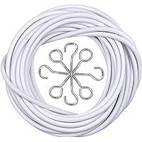 Câble de Rideau 10M, Fil de Rideau Blanc avec 20 Pièces Piton à Visser Boulons à Oeil et 20 Pièces Crochets à Visser…