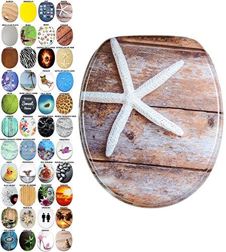 Asiento para inodoro de cierre suave, gran selección de atractivos asientos de inodoro con calidad superior y duradera de madera (Bahia)