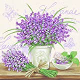 20er Pack Servietten Lavendel auf Grau 33 x 33 cm