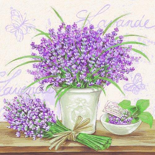 Lavendel auf Grau 33 x 33 cm (Lavendel Servietten)