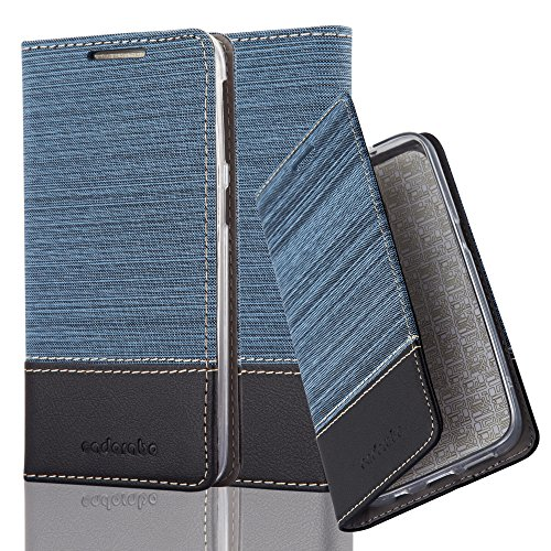 Cadorabo Hülle für HTC Desire 626G - Hülle in DUNKEL BLAU SCHWARZ – Handyhülle mit Standfunktion und Kartenfach im Stoff Design - Case Cover Schutzhülle Etui Tasche Book