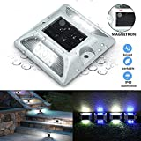 GLIME Solar Path Light LED Solar Deck Lights,Dock Path Road Lights,Marker Lighting,Drive way Light Waterproof Security Warning Lights for Outdoor Fence Patio Stud Yard Stairs Pathway Garden Lamp White