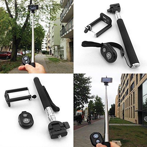 THEVERY® - Bluetooth Handy Selfie Stick Stange - 3teilig: Teleskopstange, Bluetoothauslöser Universalhalterung 22-105 cm- Schwarz - Armverlängerung - für IOS und Android Smartphones