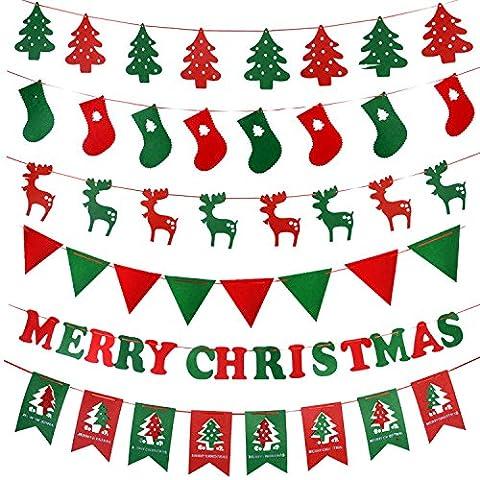 Yifom Merry Christmas bandiera bandiera finestra di vetro appeso bandiere, lunghezza 2,5m