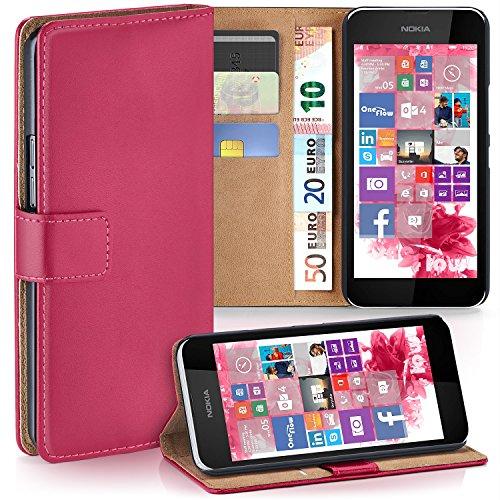moex Nokia Lumia 530   Hülle Pink mit Karten-Fach 360° Book Klapp-Hülle Handytasche Kunst-Leder Handyhülle für Nokia Lumia 530 Dual SIM Case Flip Cover Schutzhülle Tasche