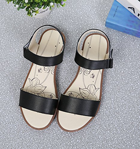 Damen Sandalen Schnalle Römische Stil Slingback Flache Atmungsaktiv Komfort Sommer  Freizeit Schuhe Schwarz 079896bf0e