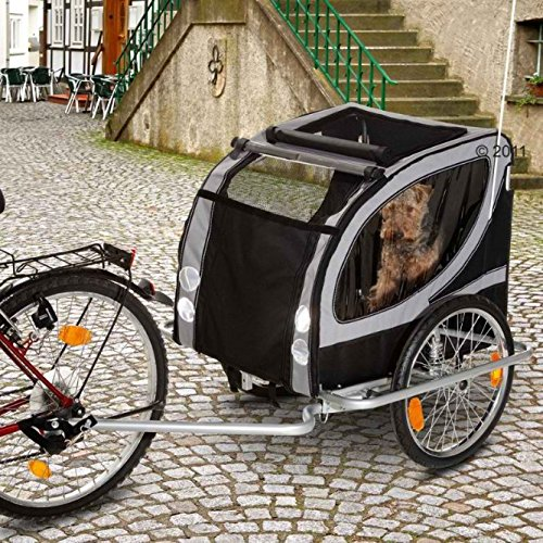 robust-and-luxurious-dog-bike-trailer-with-weather-resistant-coating-reflectors-comfortable-suspensi