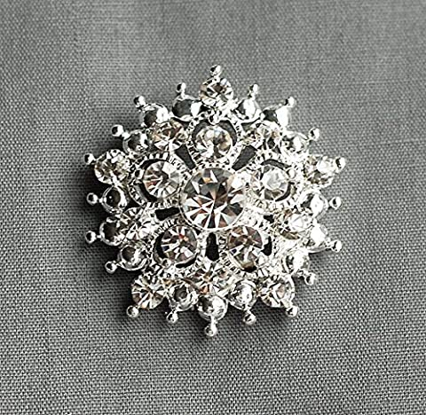 10 Rhinestone Buttons Round 1.25 (32mm) Diamante Crystal Hair Flower Comb Wedding Invitation Bouquet Jewelry Ring BT060 by Your Perfect Gifts