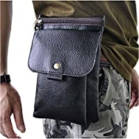Le'aokuu Mens Genuine Leather Small Messenger Shoulder Bag Fanny Waist Belt Pouch Pack (The 8302 Black)